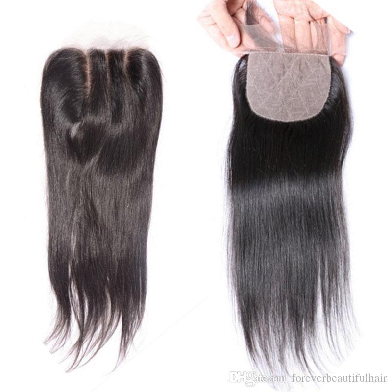 البرازيلي الحرير أعلى إغلاق 4 * 4 مستقيم الحرير قاعدة الرباط اختتام مع شعر الطفل الحرة جزء 100 ٪ قطعة إغلاق الشعر البشري