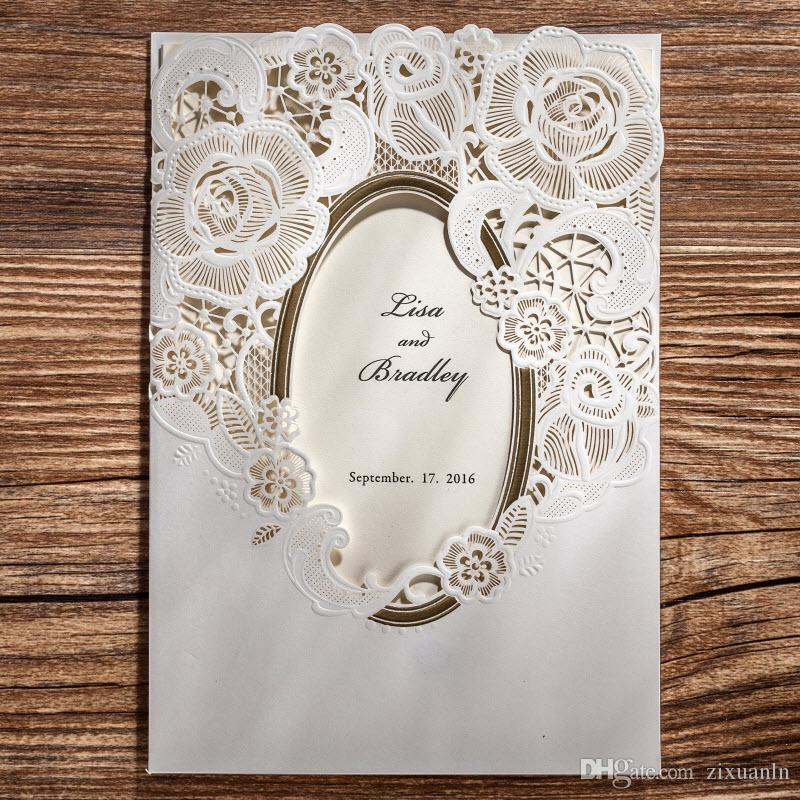 Cute White Gold Laser Cut Flowers Wedding Invitations Cards, By ...