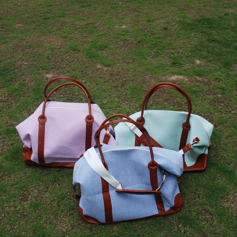 Seersucker 더플 가방 도매 공백 3 색 주말 토트 여행 가방 어깨 밤 가방 무료 배송 DOM106285