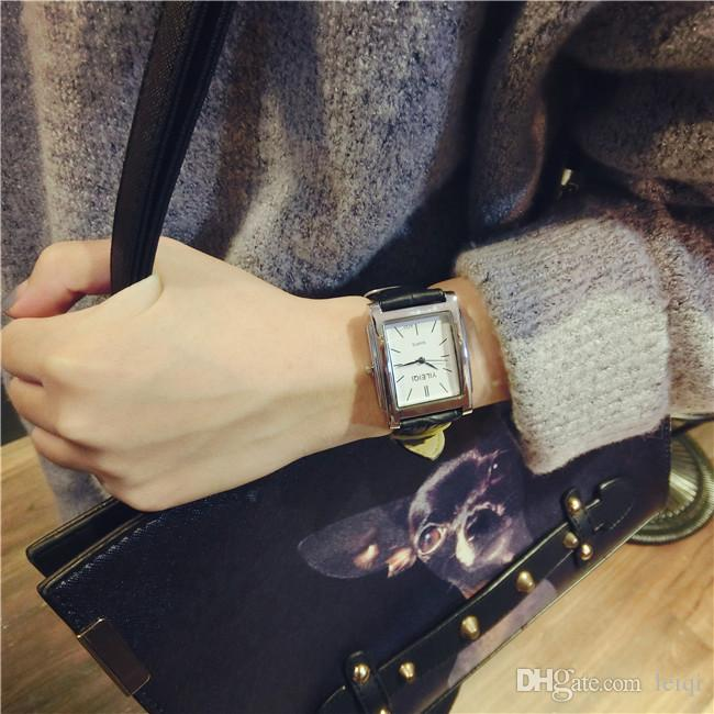 Trend of retro small single-product Korea square embossed PU leather watch wild leisure pin buckle literary student watch