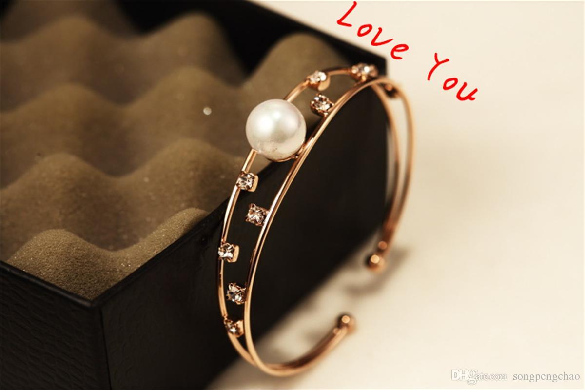 Zircon Perle évider Chunky Bracelets Bracelets Parti Costume Bijoux 18K Plaqué Or Bracelets Ouvert Femmes Accessoires