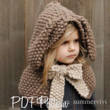 2019 Baby Girls Poncho Hats Handmade Crochet Kids Cute Rabbit Ears