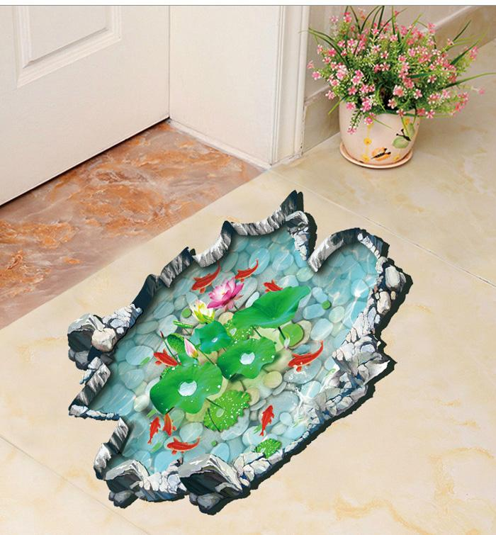 Goldfish Lotus Wall Floor Stickers Removable Waterproof Toilet 3d Stickers  Home Decor In Stock Large Wall Sticker Large Wall Stickers From  Elizafashion, ...