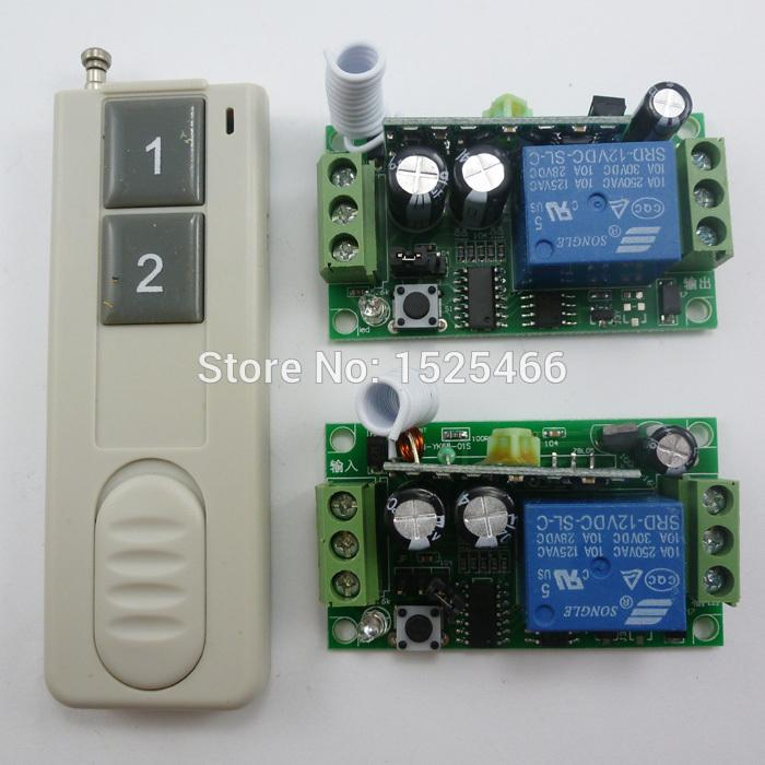 2 push button Remote 2pcs 1CH Wireless Relay switch DC 12V 433M for smart  home automation