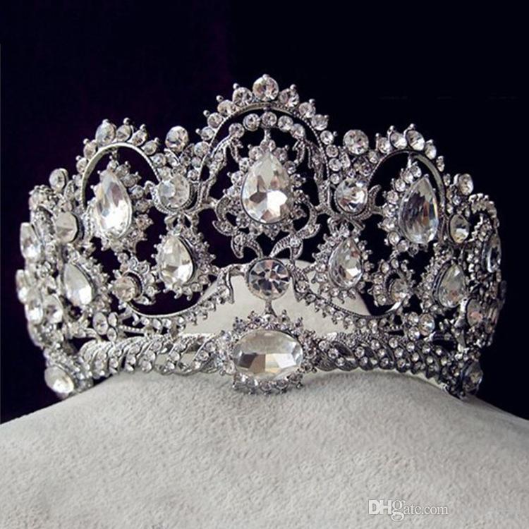 Vintage Baroque 2018 Designs Royal King Queen Crown Rhinestone Tiara