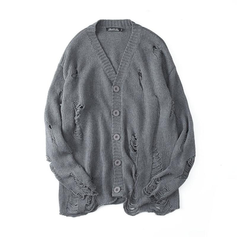 Fashion sweater men high street Winter Mens new design Knaye West Vintage Hip Hop Style Ripped oversized sweater Cardigan