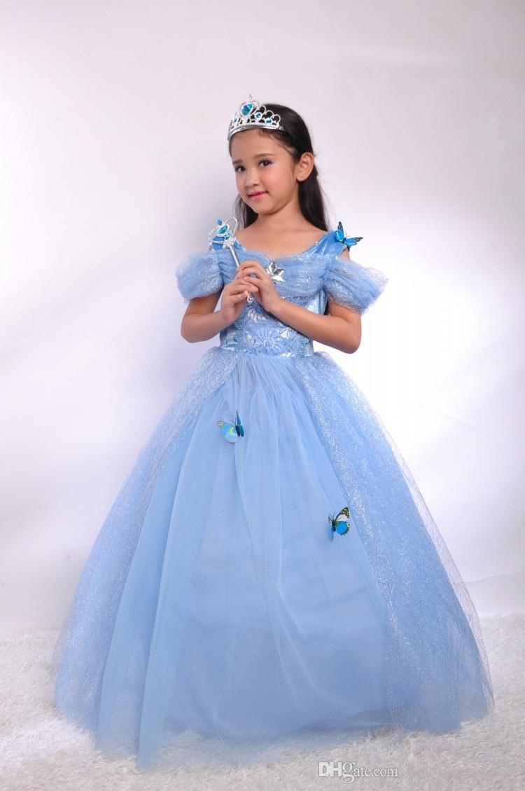 2016 Nuove ragazze di Cenerentola vestono la principessa blu Costume Party Girl Ball Gown Dress Kids Girl Vestiodo Dress Diamond Party Dress