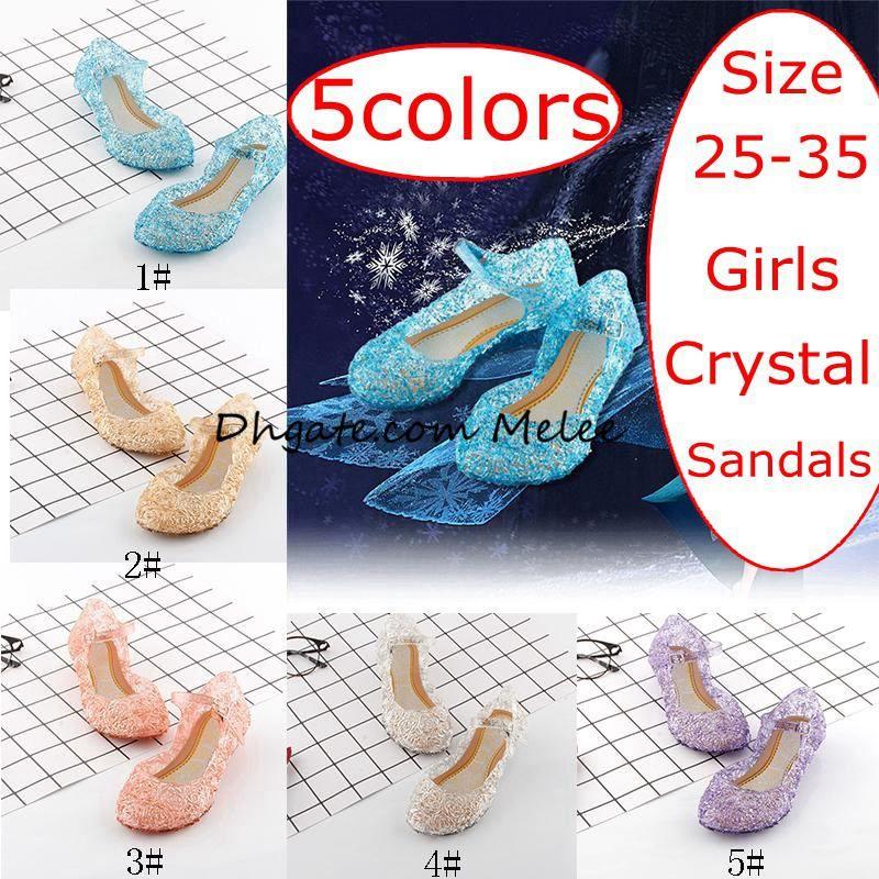 INS Summer New kids Shoes Girls Princess Shoes Blue Crystal Sandals Girls Cosplay Shoes Blue PVC Hole Snowflake Sandal kids Shoe