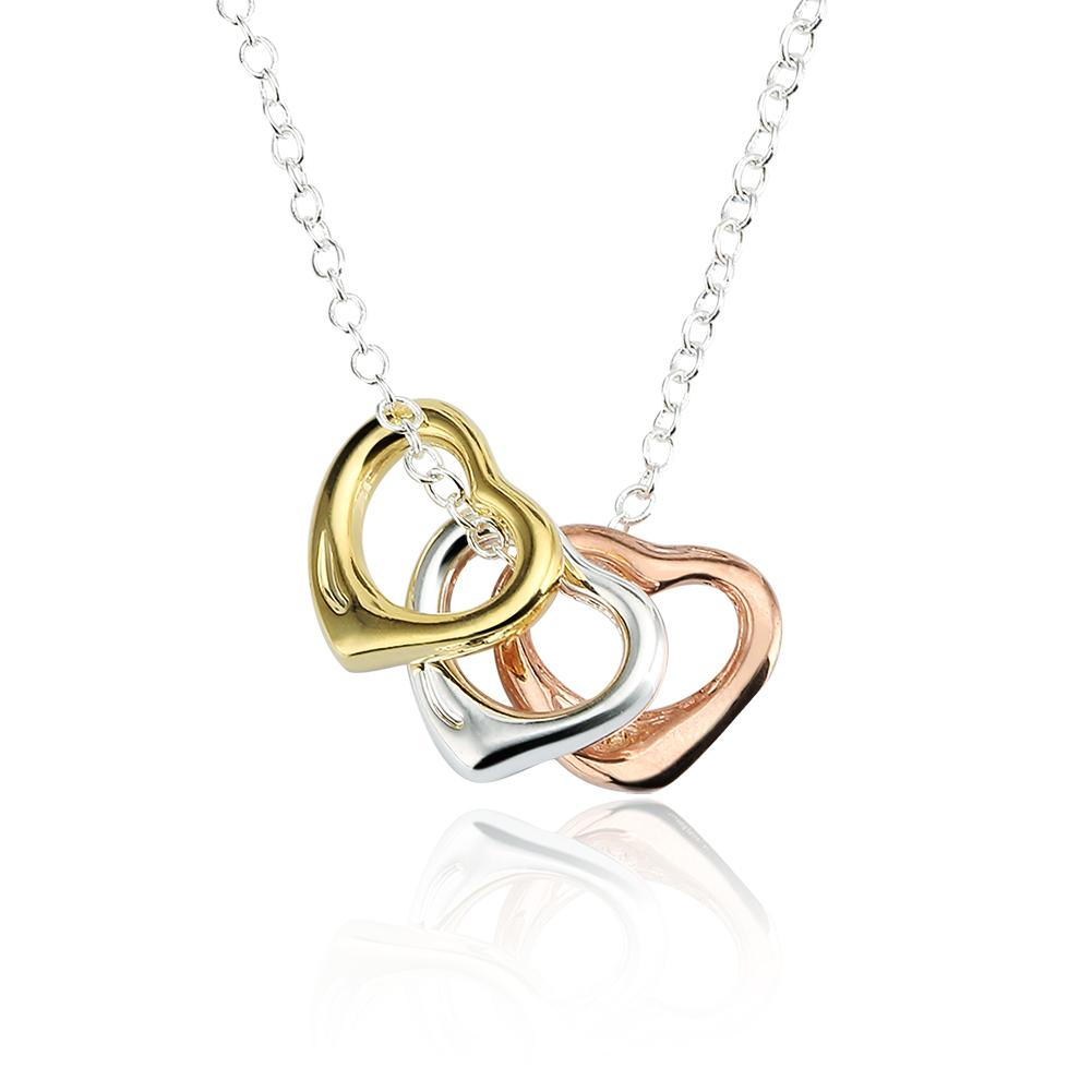 6d4ac79603461 10Pcs/Lot Women's Choker Necklace 925 Sterling Silver and Gold Filled Open  Heart 3 Colors Necklace 18