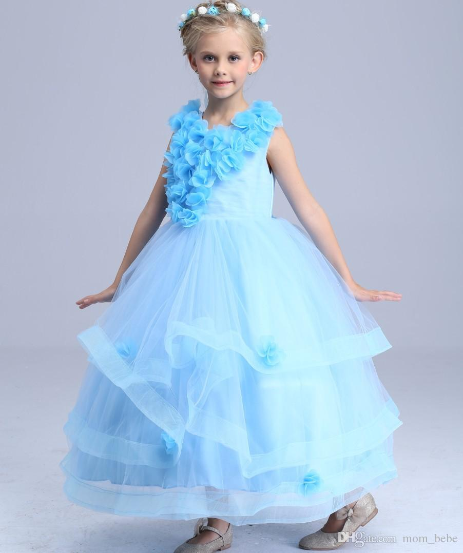 New Arrival Girls Ball Gown Dress Blue Wedding Dress Princess Cake ...