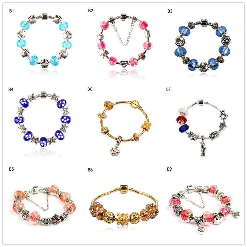 heart shell Tibetan silver glass beads Charm Bracelet,hot sale fashion women's DIY European Beads bracelet a mixed style GTPDB1