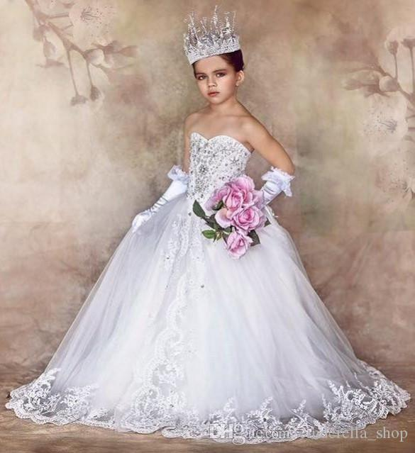 2019 New Princess Ball Gown Flower Girls Dresses For Weddings Sweetheart Appliques Crystal Long Formal First Communion Child Party Gowns