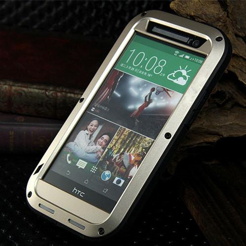 huge selection of 0d953 5a008 LOVE MEI Shockproof Waterproof Case for HTC One M8 Powerful Heavy Duty  Metal Case Cover for HTC M8 Gorilla Glass Protector