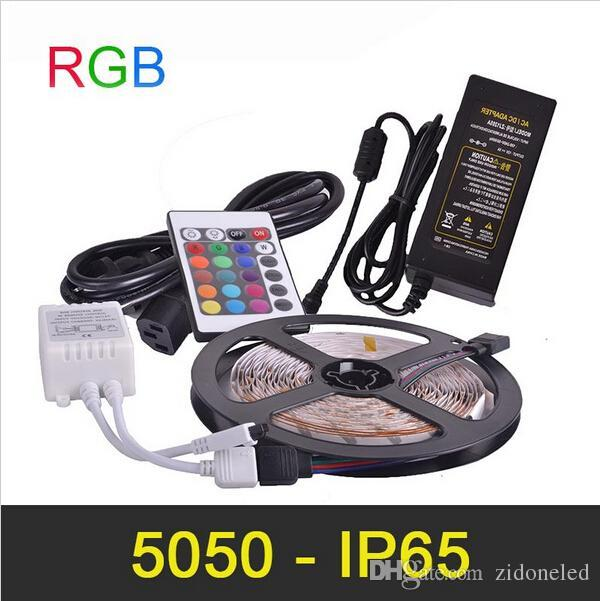 Tira de luz LED RGB IP65 5m 300LED impermeable SMD5050 alta luminosa con mando a distancia por infrarrojos LED Strip Power Adapter 12V 5A