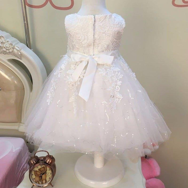 Tulle Lace Flower Girl Abiti Red Pink White Junior Flower Girls Abiti ragazze Matrimoni Comunion Sequin Princess Pageant Gowns