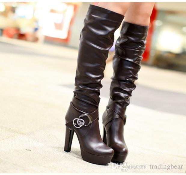 Plus Size 34 to 40 41 42 43 Sexy White Wedding Boots Black PU Leather Wrinkle Platform Chunky Heel Over The Knee Boots Women Winter Shoes