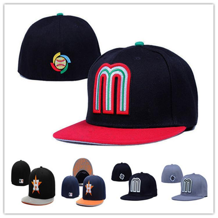 Street Fashion M Letters Mexico Fitted Hats Baseball Cap Flat