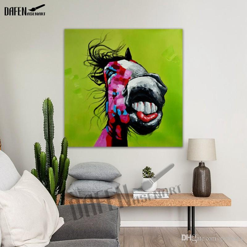 Happy Donkey 100% Handpainted Animal Oil Paintings Funny Cartoon Picture Paint on Canvas Modern Home Decoration