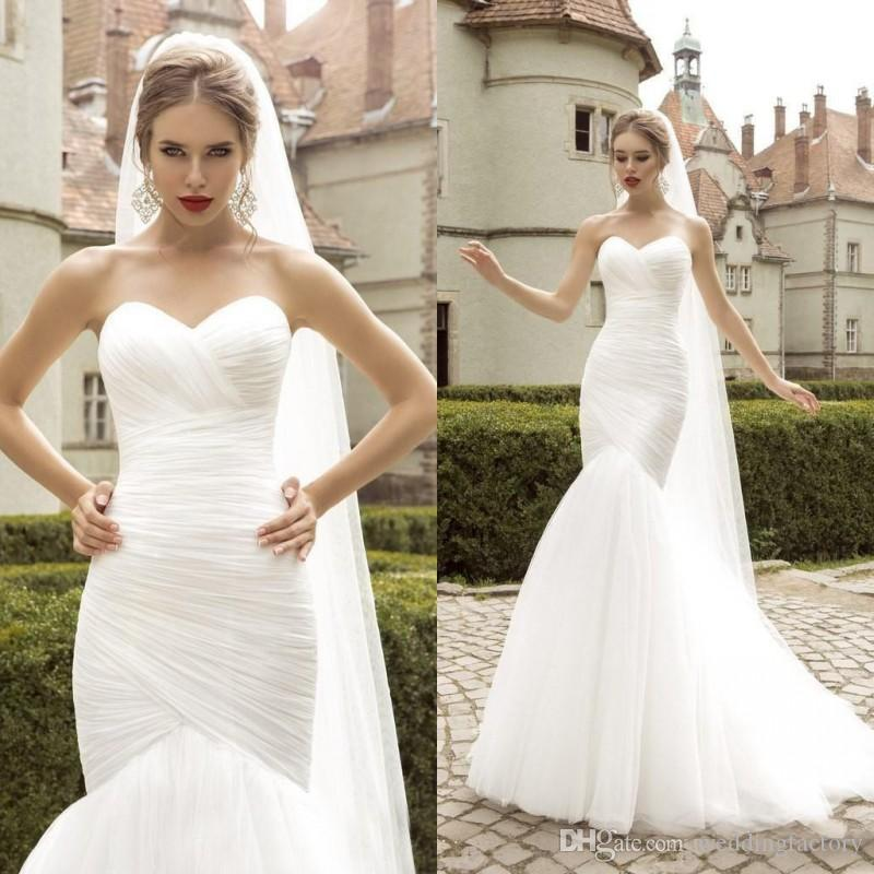 Classic Mermaid Wedding Dress Cheap Simple Elegant Ruched Tulle ...
