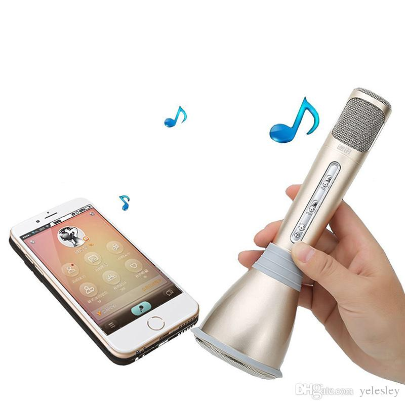 K068 Karaoke Player Wireless Bluetooth Music Condenser Microphone With Mic Speaker KTV Singing Record For Phones Computer
