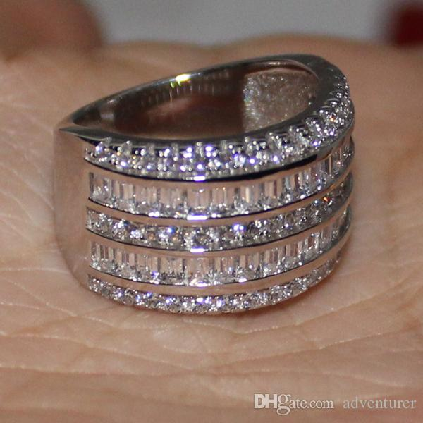 Eternity 14K White Gold Filled Square Simulated Diamond CZ Overlay Big Wedding Band Ring Jenny G Jewelry for Women Nice Gift