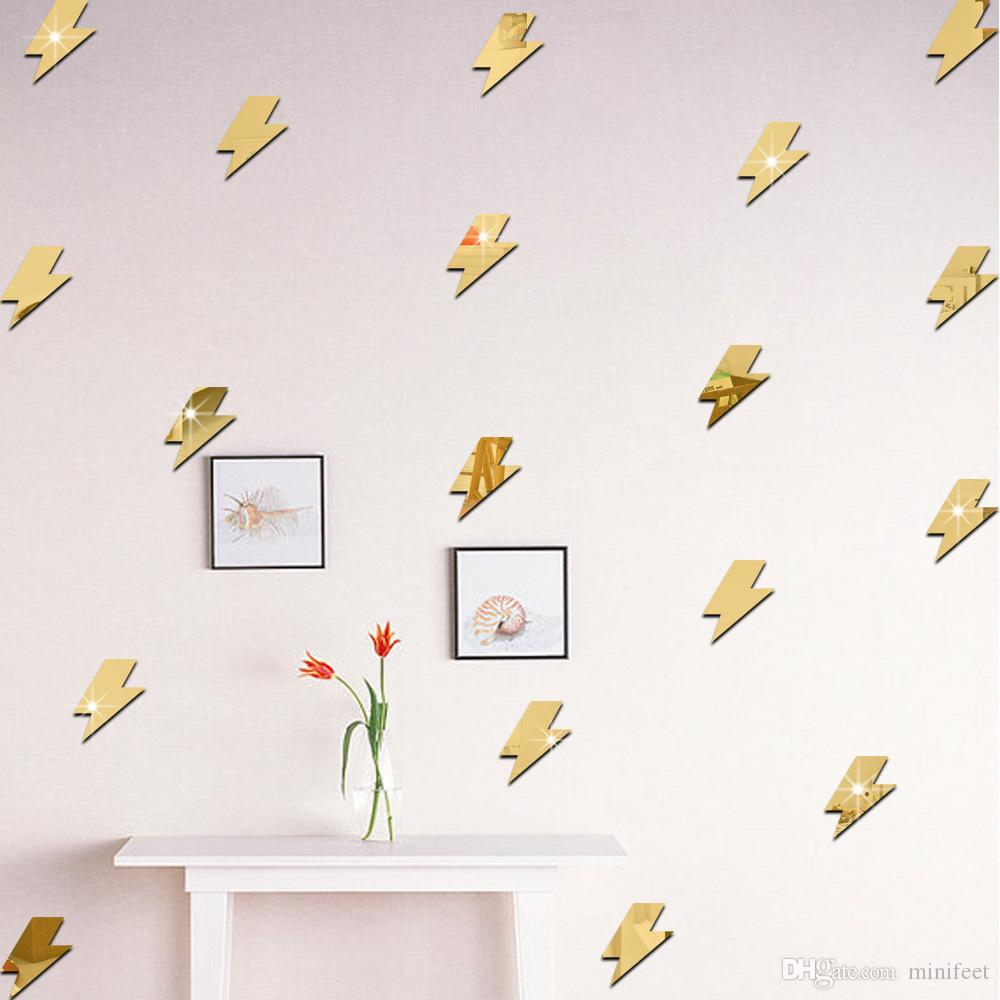 Cartoon lightning mirror wall stickers children bedroom adornment background acrylic wall decals can remove