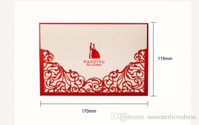 2016 Gorgeous Laser Cut Gold Red Wedding Invitation Hollow Lace Free Customized Print Text Wedding Supplies