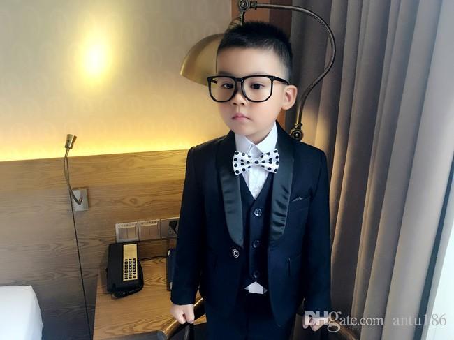 2018 Coat + Pants + Vest Boy Flower Kids Suit Slim Fit Tuxedo Brand Fashion Bridal Suit Suit Coat Wedding Dress Red And Blue