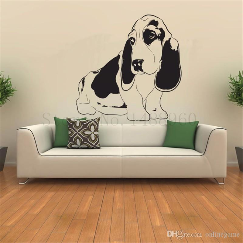 Wall Stickers Home decor DIY poster Vinyl Art Mural Animal Basset Hound Pets cute dog for kids room 56*56 cm