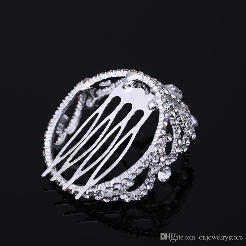 Crystal Rhinestone Hair Jewelry Mini Round Circle Hair Comb Tiara Pageant Prom Kid Girl Metal Hair Comb Head Tiara