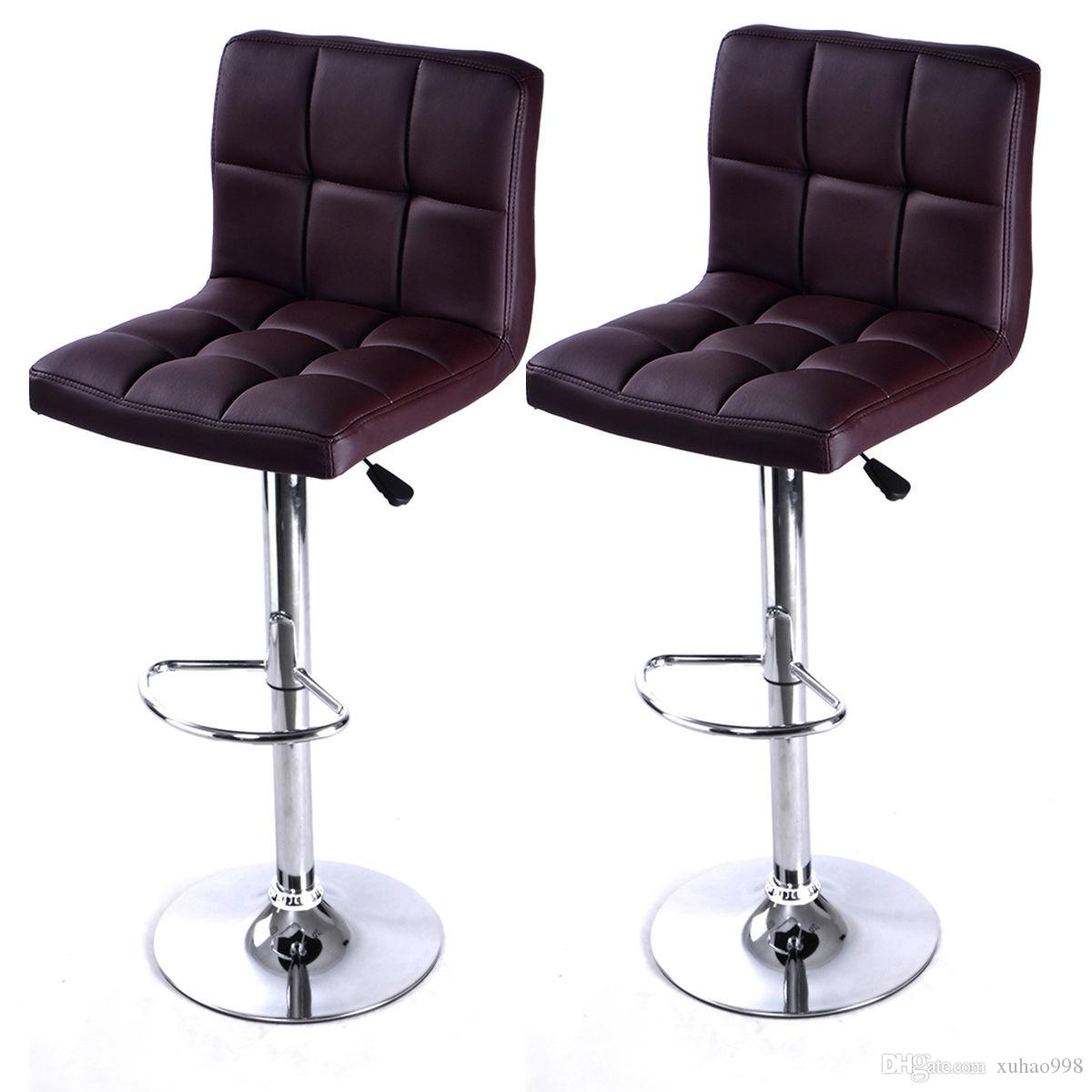 Best Set Of 2 Bar Stool Pu Leather Barstools Chair Adjustable Counter  Swivel Pub New Under $61.31 | Dhgate.Com