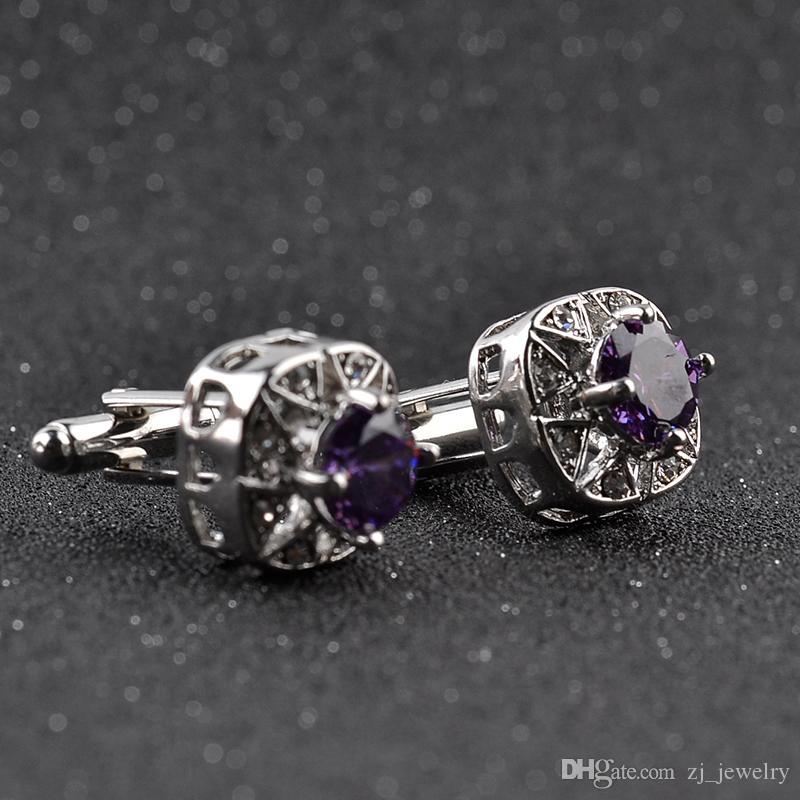 Men Purple Blue Crystal Cufflinks High Quality Lawyer Groom Wedding Zircon Cufflinks For Mens Shirt Cuff Links Gemelos Para Camisas