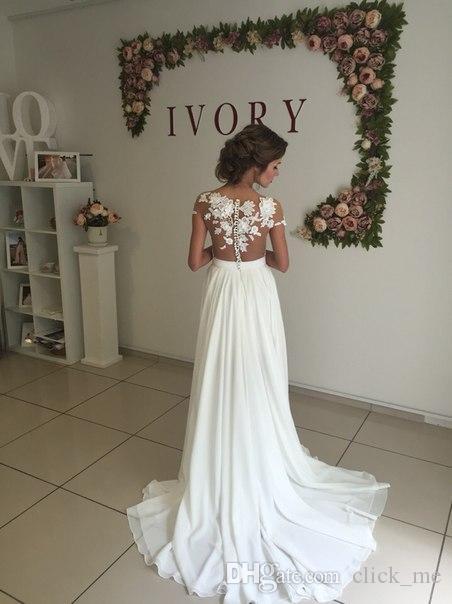 Robes de mariée magnifiques mancherons appliques 3D pure cou Cou robes de mariée sexy jambe fentes mousseline de soie dos couvert bouton robe de mariée vintage