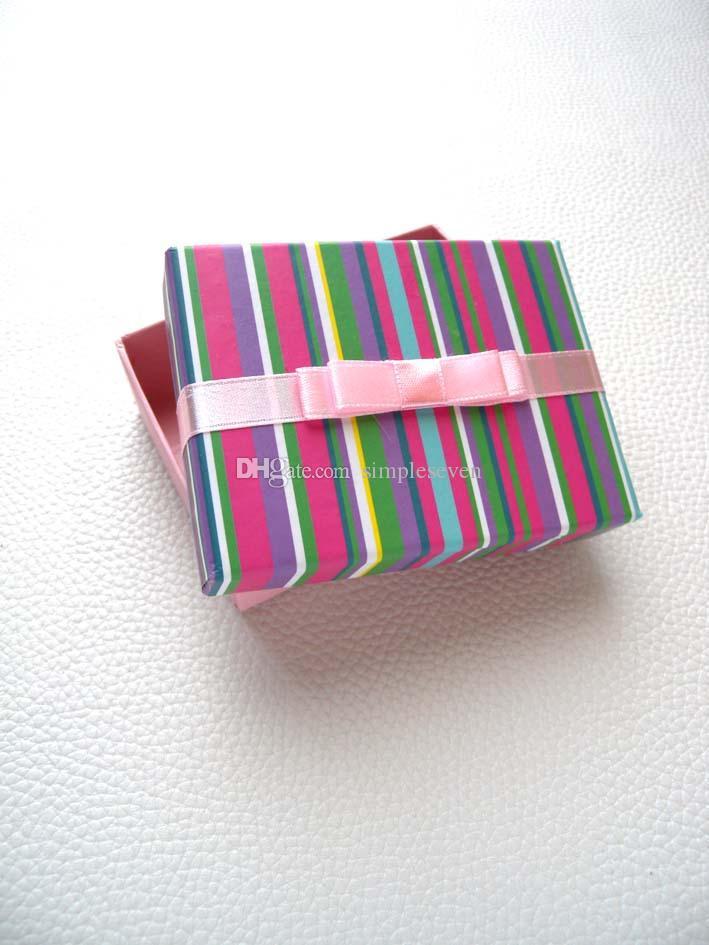 리본 [간단한 세븐] 레인보우 컬러 팔찌 상자 / 축제 스트라이프 귀걸이 케이스 / 화려한 펜던트 디스플레이 / 특별 선물 보석 상자 대