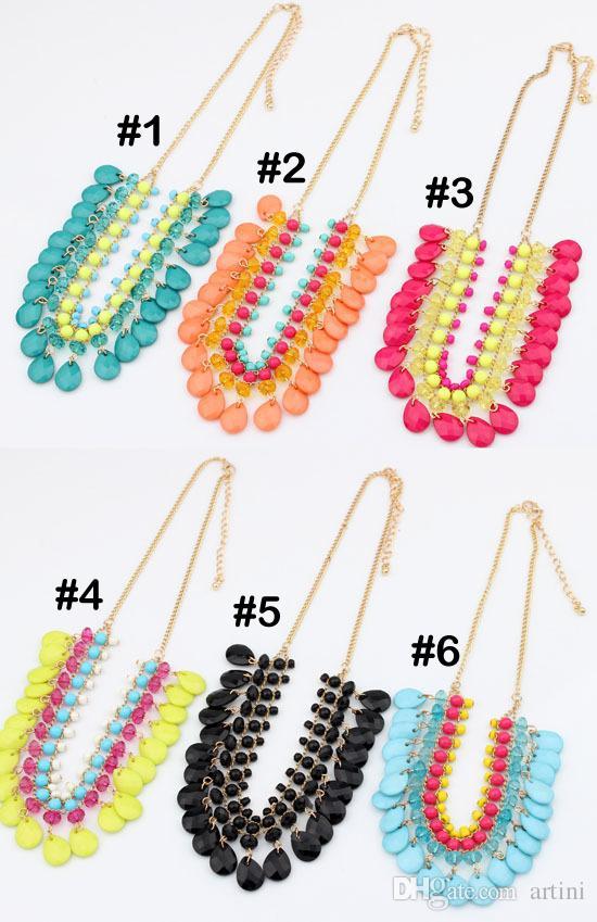 Мода флуоресцентный цвет ожерелье европейский богемный стиль смола капельки ручной работы кисточкой ожерелье ну вечеринку подарок E781L