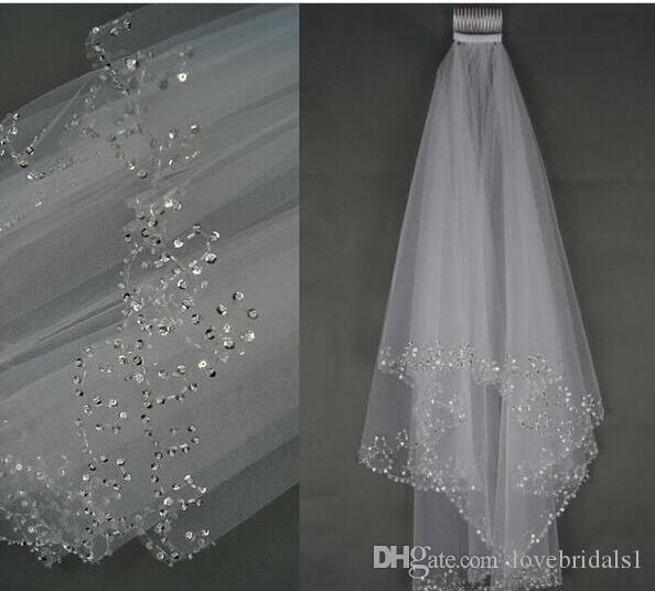 2019 cheap Wedding Bridal Veil 2-Layer Handmade Beaded Crescent edge Bridal Accessories Veil White and Ivory color in stock