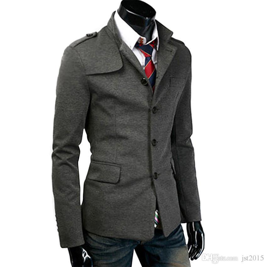 Jones 2016 Short Black/Dark Grey Casacos De Firo Plus Size Men Stylish Slim Stand Collar Tops Trench Coat Outerwear