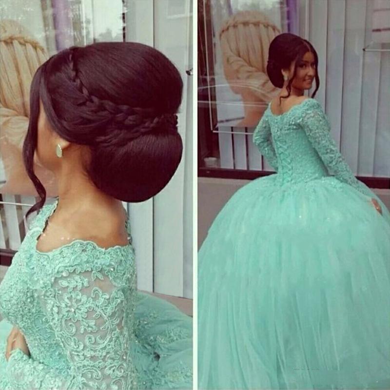 Imagen real Vintage Arabian Mint Apliques de encaje verde vestido de bola Puffy Vestidos de baile Vestidos de noche Vestidos de noche Chicas de alta calidad Liyatt Prom