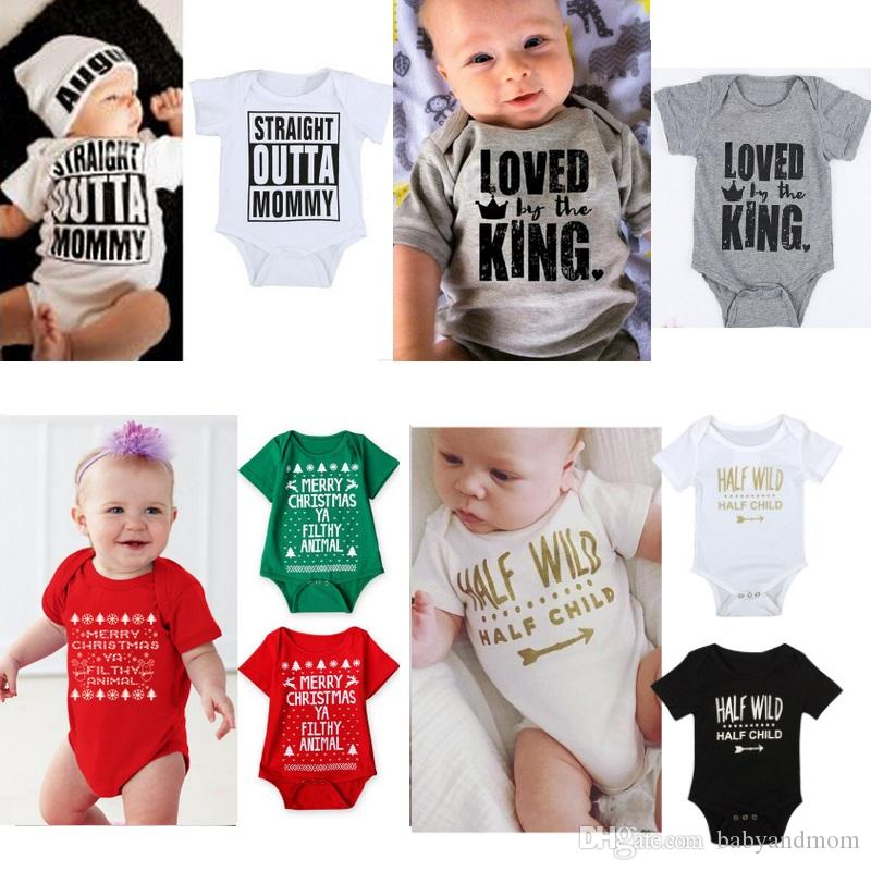 2b55fae07128 Newborn 2016 INS Baby Boys Rompers Costumes Lovely Child Letters ...