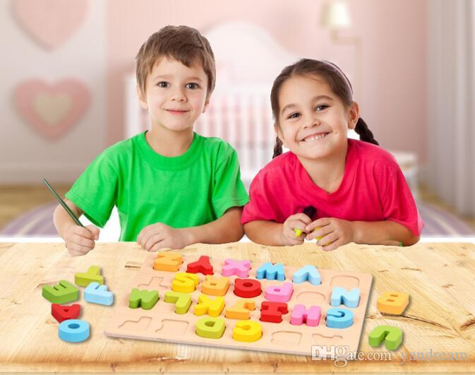 high quality Wooden Child Infant Education Puzzle Alphabet Digital Learning Color Cognition Puzzle Toys Child Learning Tools Christmas Gifts