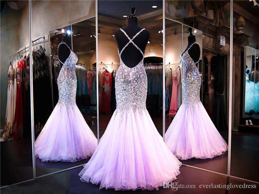Сиреневое бисерное платье для выпускного вечера Русалка Милая декольте с открытой спиной Bling Bling Спагетти Вечернее платье Прозрачное театрализованное платье