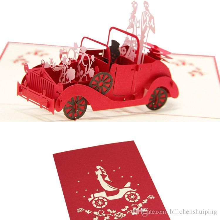 200130mm 3D Classic Car Wedding Invitations Card Festival Romantic Personality Valentines Day Greeting Cards Free Shipping