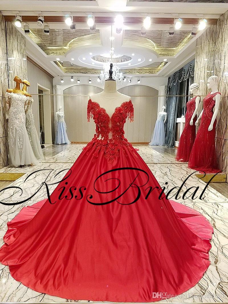 Reale Fotos Rote Abendkleider Spitze formale lange Satin-Abschlussball-Kleider 3D-Spitze mit Perlen verziert Blumenballkleid Mädchen-Festzug-Partei-Kleider