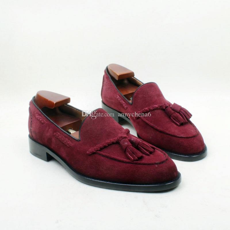 Großhandel Herren Freizeitschuhe Slipper Schuhe Benutzerdefinierte  Handgefertigte Schuhe Wildleder Quasten Slip On Schuhe Runde Zehe Farbe  Burgudy Hd N132 ... ee13fa8f8b