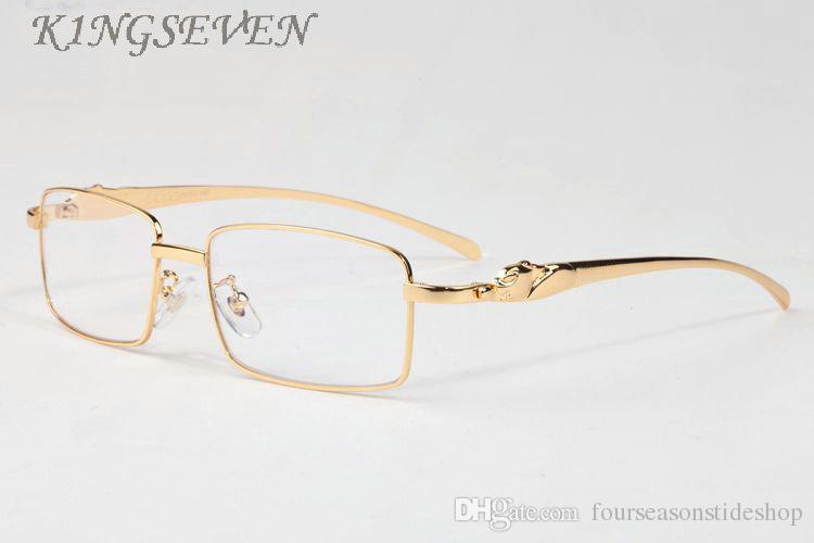 2018 رخيصة مصمم النظارات الشمسية للرجال النظارات بدون شفة جاموس القرن الذهب والفضة العقلية الفهد إطارات النظارات الرخيصة النساء نظارات