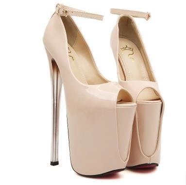 02b8f978920c 22CM Super High Heels Women Shoes Peep Toe Leather Pumps For Women Platform  Sexy Pumps Ankle Strap Loafers For Men Red Shoes From Nancy161020