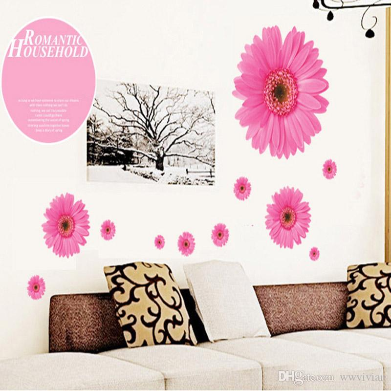 Pink Daisy Flowers Wall Decals Home Decor Cabinet Refrigerator Decor Wallpaper Poster Art Decorative Graphic Mural Removable PVC Stickers