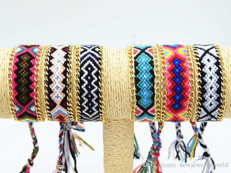 6 قطع مختلط نمط مدهش اليدوية القطن حبل سلسلة سوار الصداقة النساء والرجال سوار للشتاء والصيف