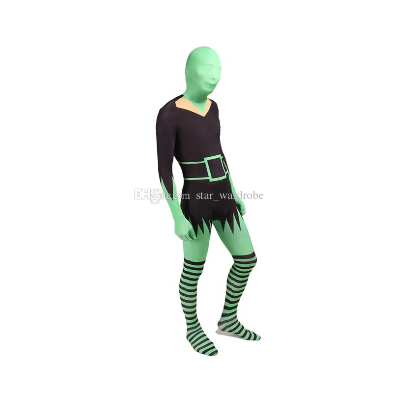 Black And Green Sexy Women Cosplay Costumes Halloween Lycra Spandex Full Body Zentai Catsuit