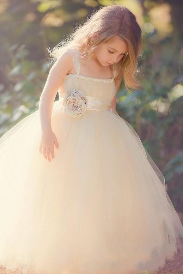 Vintage Champagner Tüll Garten Hochzeit Blumenmädchen Kleider Lace Straps Mädchen formale Kleid mit handgefertigten Blumen Schärpe bodenlangen